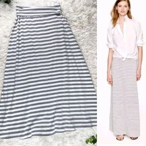 DownEast Gray & White Striped Jersey Maxi Skirt